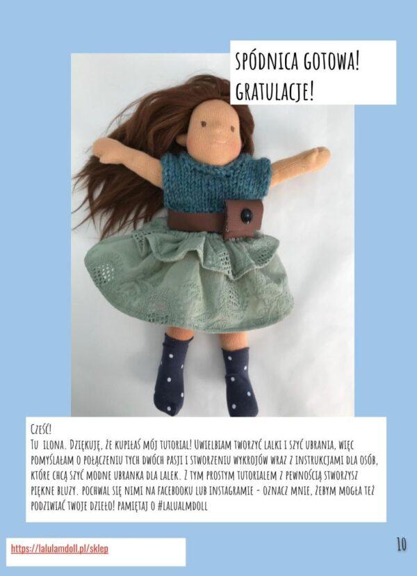wykrój spódnica dla lalki