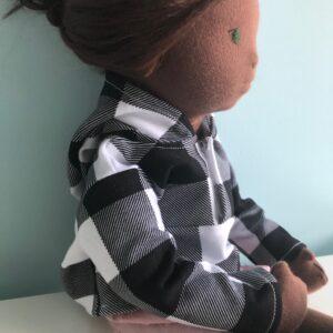 bluza z kapturem wykrój dla lalki
